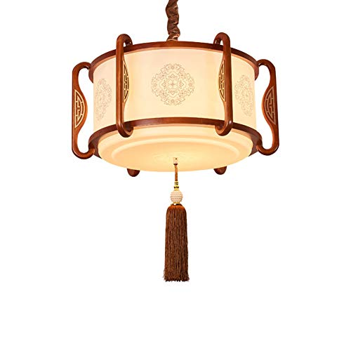DECORATZ Chinese Simple Style 4630cm Oak Chandelier, Living Room Lamp Dining Room Bedroom Study Lamp Hotel Tea House Engineering Lamp Antique Solid Wood Acrylic Lamp