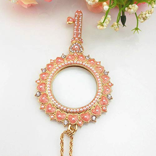 (CPSHFDJ Portable LED Magnifier Necklace Magnifier Jewelry Female Korean Fashion Sweater Long Chain Lucky Heart Shaped Color Week Magnifier)