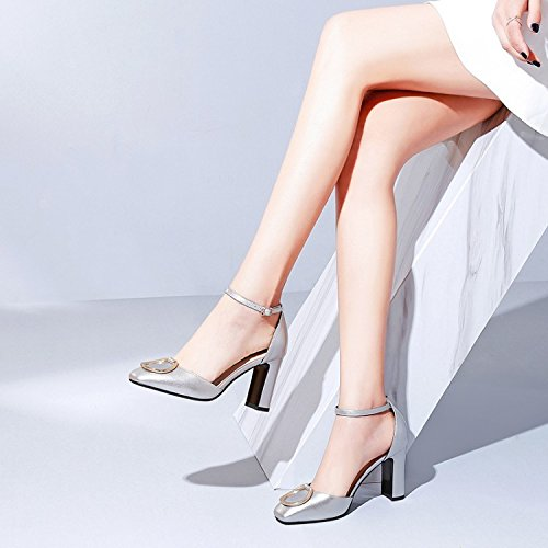Jqdyl Tacones Individual Femenino Tacón Tacón Hebilla Sandalias Zapatos de mujer Silver