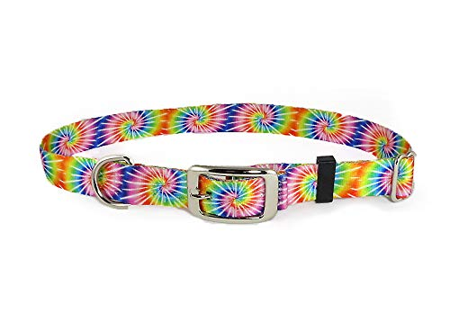 Tuff Lock Nylon Dog Collar, Metal Split-Ring for Control and ID Tag, Made in USA, Metal Buckle (Tie Dye, Small)