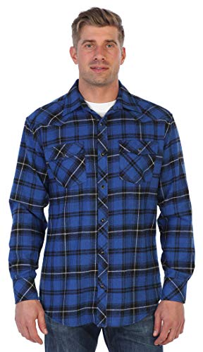 (Gioberti Men's Western Brushed Flannel Plaid Checkered Shirt w/Snap Button, Royal Blue/Black/White Highlight,)