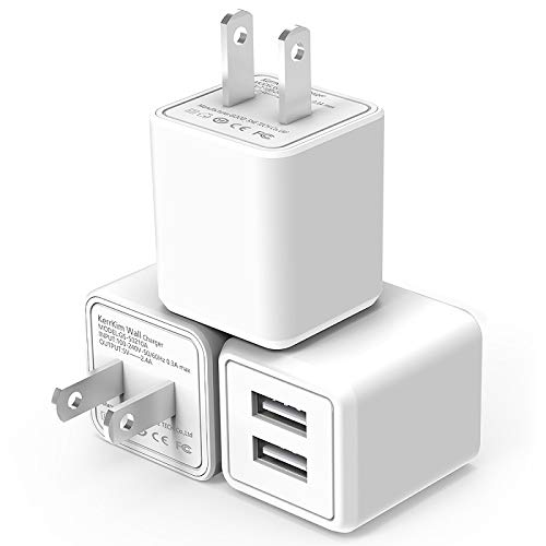 USB Wall Charger,Dual Port Rapid Speed Compact Universal USB Power Adapter Wall Charger Compatible with Apple iPhone X/8/8 Plus/7/7 Plus/Samsung Galaxy/Nexus/LG/HTC & More White (3-Pack)