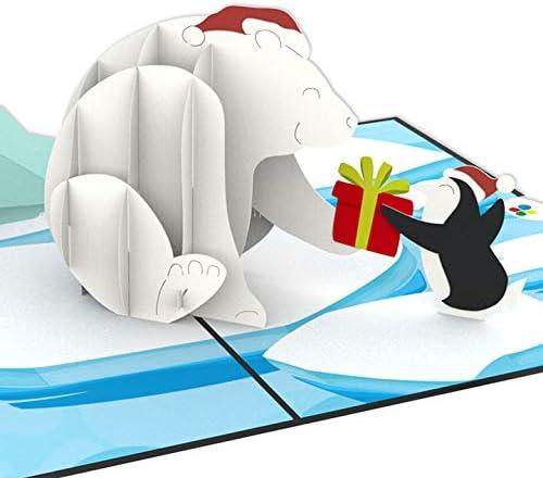 Divertente biglietto di compleanno per bambini o fidanzata ragazze e ragazzi fatto a mano per compleanno o Natale PaperCrush/® Biglietto dauguri pop-up invernale Orso polare e pinguino