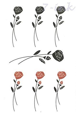 6pcs Impermeables del Tatuaje Pegatinas púrpuras del Flor de Hoja ...