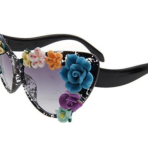 Las de la de de Sol Sol Ojos del la Gafas Gafas Ultra Lady los de Mujeres Flor de UV Mano la a Gato Colorful de Verano de Playa Personalidad del protección la Ligero de Hechas Estilo de 8f1q5w5E