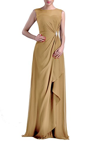 Formal Bridesmaid Dress Chiffon Special Occasion Long Mother Of The Bride Groom Dress, Color Golden,4