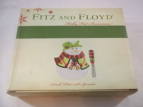 Fitz and Floyd Holly Hat Snowman Snack Plate & Spreader