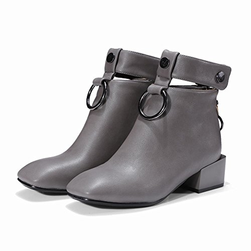 Carolbar Women's New Style Chic Mid Heel Square Toe Zip Short Boots Grey ktG9mO9m0