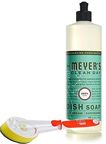 Mrs. Meyer's Dish Soap Basil 16 fl oz with a Brillo Scrub Brush (Meyers Hand Soap Radish)