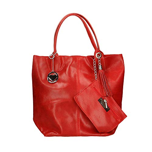 Cm In A Chicca Borse Made Borsa Rosso 39x36x20 Bag Pelle Mano Italy vSOqBgw