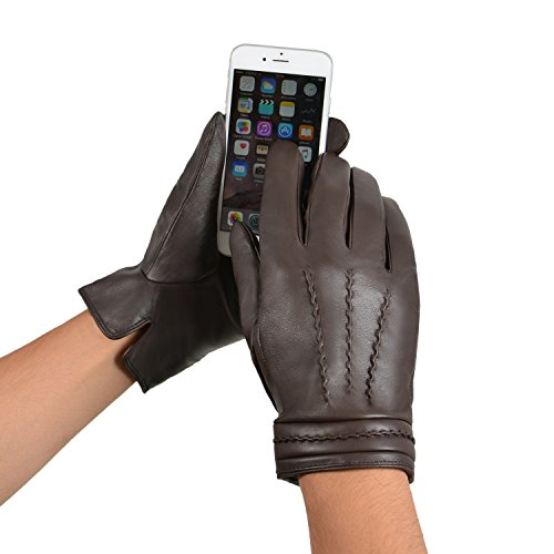 GSG Mens Hi-tech Touchscreen Leather Gloves Warm Italian Genuine Nappa Full Palm Winter Gloves S/M Brown