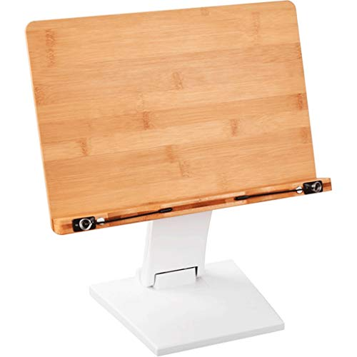 ZWS Reading Bracket Bamboo Wood Multi-Function Reading Frame Lifting Folding Table Height Reading Bracket Music Stand Easel Book Stand for Tablets, etc. (Color : White)