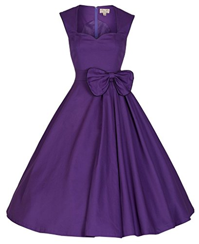 BOMOVO Damen Audrey Hepburn 50s Retro Vintage Bubble Skirt Rockabilly Swing Evening Kleider XS-7XL