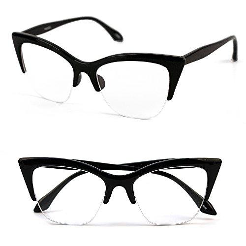 Pop Fashionwear1950's Vintage style Cat Eye Clear Lens Glasses P4022CL (Black, - Men For Cat Glasses Eye