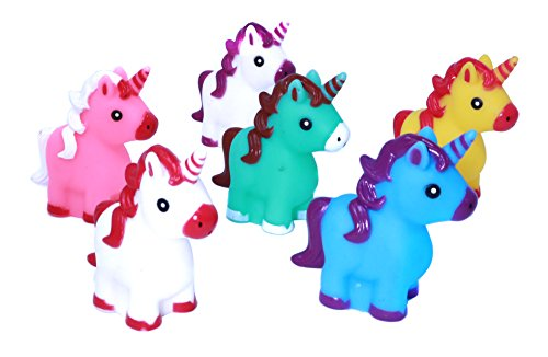 "Small Unicorn (Colorful 2"" Rubber Unicorn Characters - 12 Cute Unicorn Bath Toys For Young Kids And Babies)"