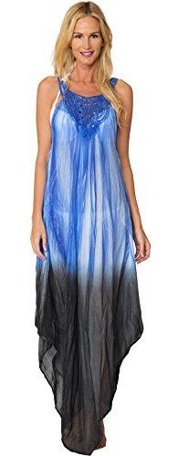 INGEAR Crochet Dress Maxi Handkerchief Long Tie Dye Beachwear Summer Cover Up (One Size, Blue)