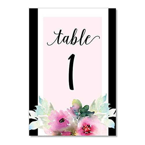 Pink Lavender Floral Table Numbers 25 Count Reserved Seating All Occasion Single Sided 4