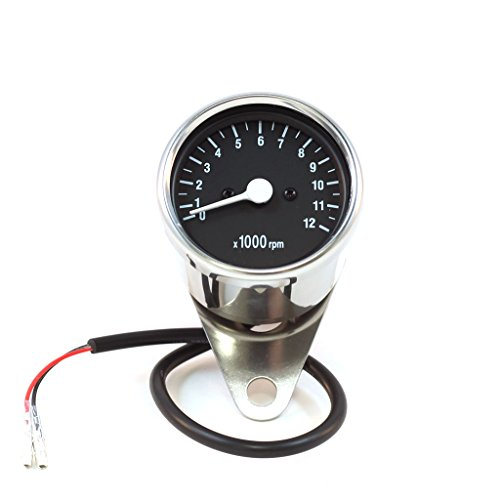 e Mini Motorcycle Tachometer Gauge w/ Black Face (1:7 Ratio) (Face Mini Tach)