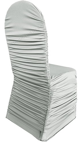 Wedding Linens Inc. Ruffle Spandex Banquet Fitted Chair Covers, Ruffled Ruched Lycra Stretch Elastic Wedding Party Decoration Chair - -
