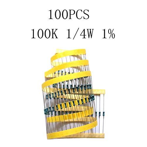 nouler Juler 100Pcs Metal Film Resistor Classification Kit 100KOmega; 1 / 4W for Power Adapters, Audio Equipment, Audio Crossovers, Instruments, Cars