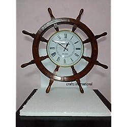 Crafts International 12 Ship Wheel Clock Wood / Brass Wooden Nautical Wall Decor
