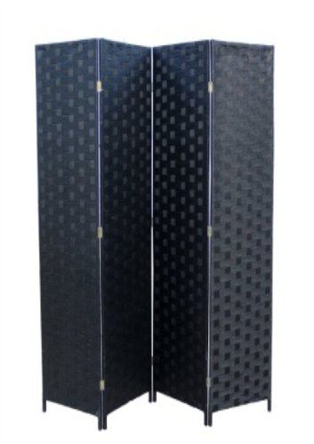 Panel Black Finish Wooden Screen - ORE International FW0676SB 4-Panel Screen Room Divider on 2-Inch Wooden Leg, Black Paper Straw Weave