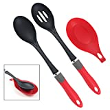 Latest 2-Piece Cooking Spoon Set With Bonus Silicone Spoon Rest - Our Nonstick Kitchen Utensils Will Never Scratch Your Pots & Pans - Lifetime Replacement Warranty
