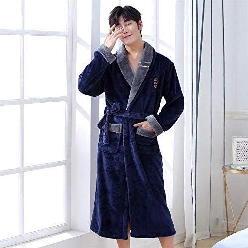 パジャマ CHJMJP ナイトウェアバスローブガウンパジャマ暖かい冬の男性のローブホーム服寝間着パジャマ大型 (Color : Navy blue3, Size : XXXL)