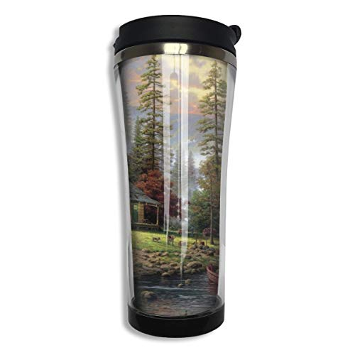 Oximing Chalet Painting Forest Lake Wallpaper Insulated Stainless Steel Coffee Cup Large, 15 Ounces Travel Cup