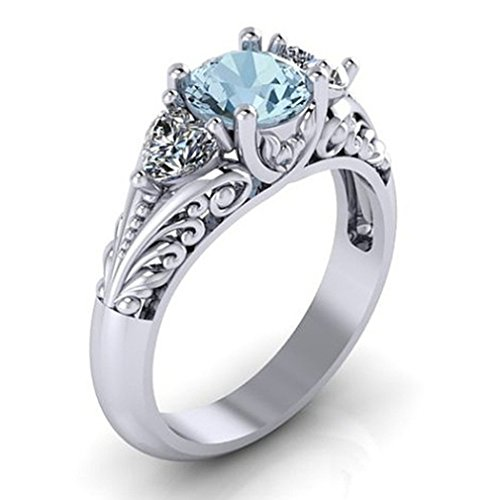 LI&HI Dolland Women's Silver Oval Cut Natural Aquamarine Cubic Zirconia Ring Engagement ()