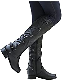 Womens Boots Knee High Leather Riding Cowboy Low Heel Strap Lace Up Boots