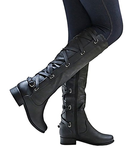 (Syktkmx Womens Lace Up Strappy Knee High Boots Black Leather Winter Low Heel Side Zip Spring Riding Boots (7 B(M) US, Black))