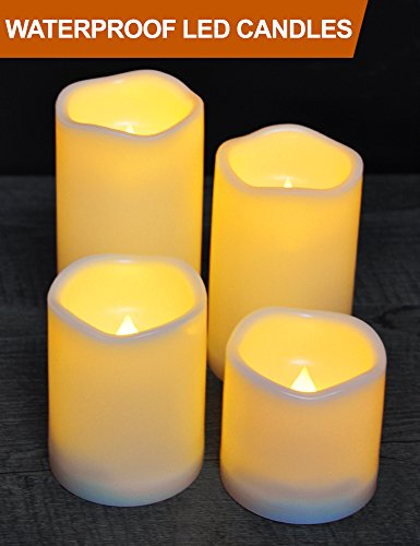 aterproof LED Pillar Candles with Timer (CREAM, 3