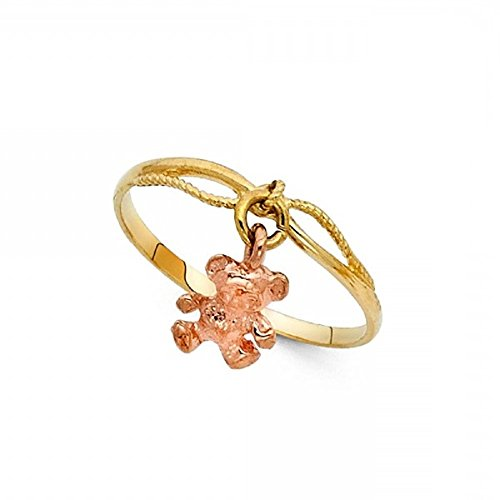 14k Teddy Ring Bear (GemApex Teddy Bear Charm Dangle Ring Solid 14k Yellow Rose Gold Polished Finish Fancy Two Tone 3MM Size 5)
