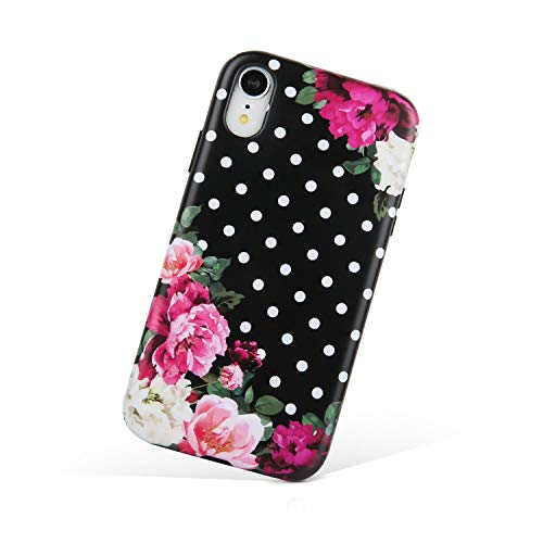 Compatible iPhone XR Case,Floral Dot Sturdy Shockproof Protective Cover Case for Apple iPhoneXR,Purple Flower/Black