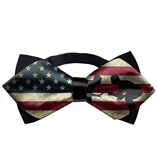 Boys Plain American Flag Wrestling Proud Wrestler Pre-Tied Bowtie, Adjustable Formal School Uniform Bow Ties Banded Bow Ties - Fun Occasions Christmas Party Polyester Neck Band Cravat