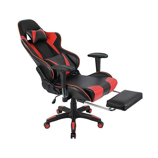 Chaise Gaming, Chaise de Bureau, Fauteuil Ergonomique, Chaise Pivotante PU, Hauteur D'assise Réglable + Accoudoirs de…