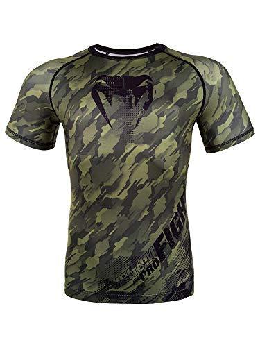 Venum Men's Tecmo Short Sleeve Rash Guard MMA BJJ Khaki Large rash guard mens bjj 1