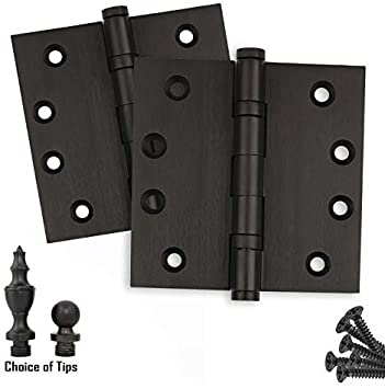Door Hinges 4 x 4 Extruded Solid Brass Ball Bearing Brass Hinge Heavy Duty Oil Rubbed Bronze US10B Stainless Steel Removable Pin Set of 2 Hinges Architectural Grade Ball//Urn//Button Tips Included