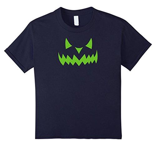 Scary Demon Face (Kids Scary Halloween Evil Demon Pumpkin Face T-shirt (Green) 12 Navy)