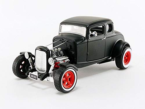 1932 Custom Ford Hot Rod in Matte Black with Red 5-Spoke Wheels and Whitewall Tires, Chrome Accents, Real Rubber Tires, True-to-Scale Detail, Limited Edition, ()