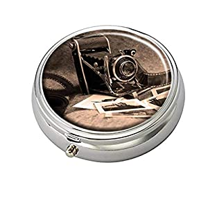 Cecillia Camera with Films Decorative Boxes Silver Round Pill Box Medicine Tablet Holder Wallet Organizer Case for Pocket or Purse