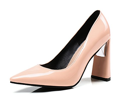 Blockabsatz Pumps Klassisch Rosa Kunstleder Top Damen Low Spitze Business Aisun Lack zHW8wqAq