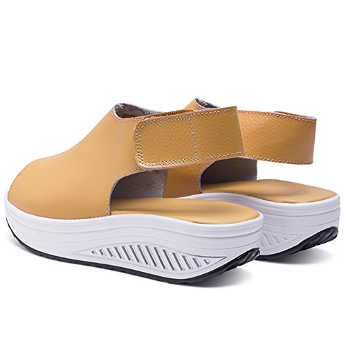 Buganda Vrouwen Strandplatform Sandalen Hoge Hak Peep Toe Shake Schoenen Zomer Antislip Wiggen Schoenen Geel