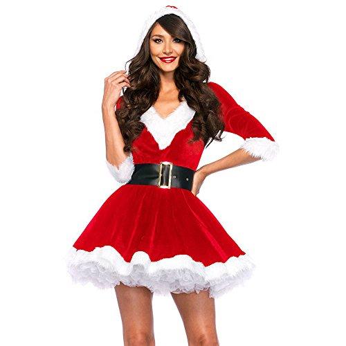 Women's V Neck Velvet Hooded Dress Mrs Santa Christmas Costume (Mrs Claus Baby Costume)