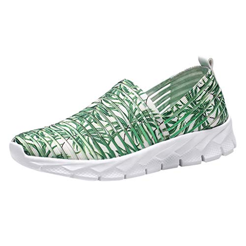 SOOTOP Women's Walking Tennis Shoes Running Sneakers Lightweight Breathable Athletic Casual Gym Slip on Gym Mesh Sports Comfort Wedge Platform Loafers Fashion Lady Girls Dance Easy Shoes Green