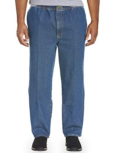 Harbor Bay by DXL Big and Tall Full Elastic-Waist Jeans - Updated Fit - Harbor Bay Big Tall