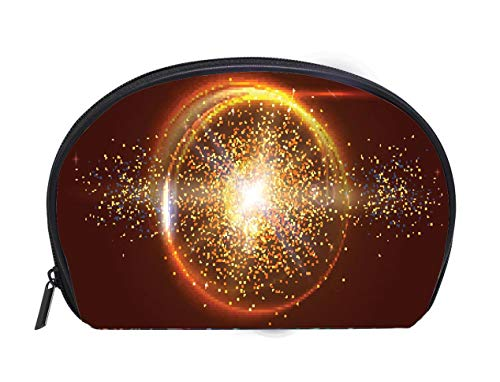 (Custom design Portable Toiletry Cosmetic Bag Blurred light rays and lens flare backdrop Glow light effect Star burst with sparkles Abstract Ladies Travel Convenience Small Wash Bag Storage Bag)