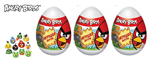 3 psc egg Angry Birds Toy + candy Birthday Party Favor (3.5 inches) Table Supplies Cake Topper toys in Shells Capsule sweets bag easter surprise