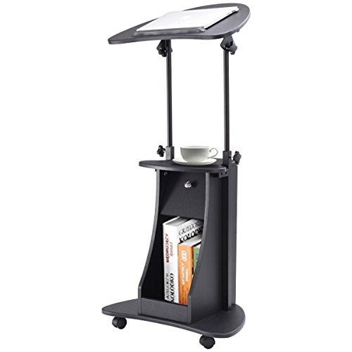 Tangkula Adjustable Laptop Cart Portable Standing Notebook Table Desk Lectern Podium W/ Storage Drawer (Laptop Portable Cart)
